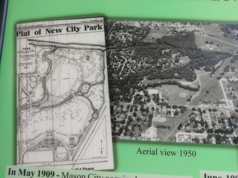 1909 Plat of City Park, now called East Park, and 1950s aerial view